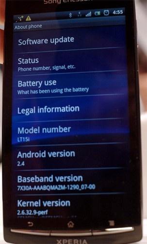 Прототип Xperia arc работает на Android 2.4